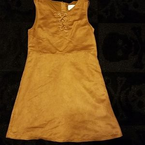 Girls faux suede brown dress